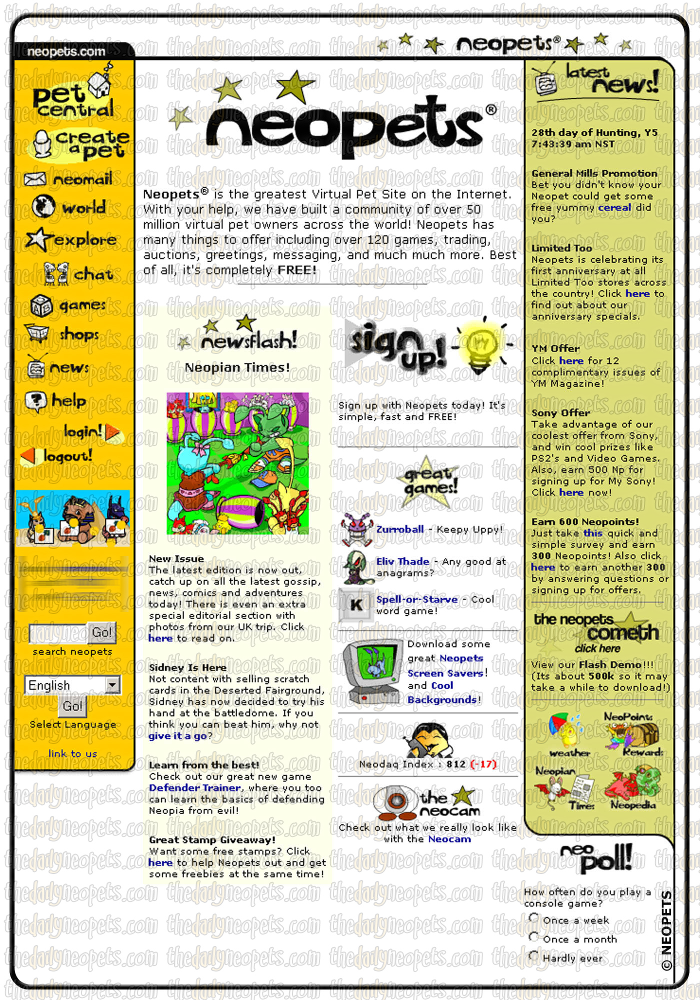 The Old Layout | The Daily Neopets
