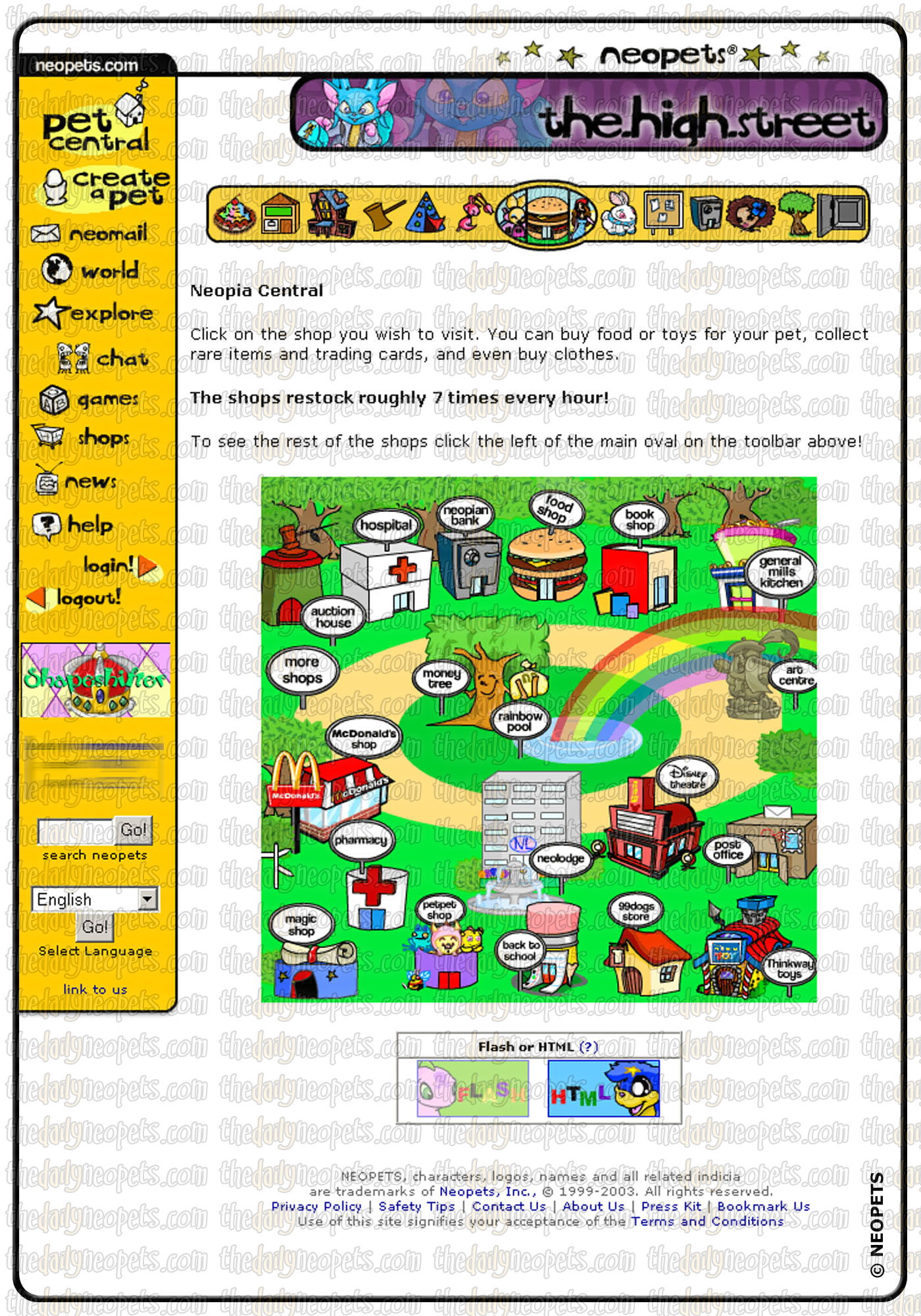 The old layout the daily neopets for Homepage shop
