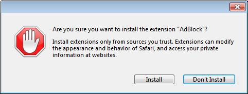 Safari warning dialog