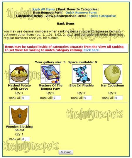 Rank Items example