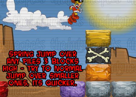 Spring jumping over blocks