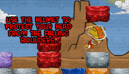 Helmet blocking falling blocks