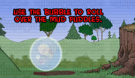 Bubble rolling over mud