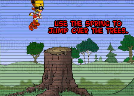Spring jumping over trees