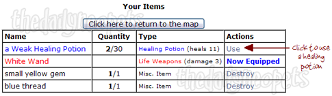 Healing Potions Use