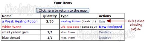 Healing Potions Use